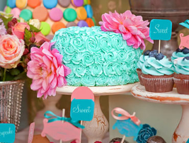 Cupcake themed party table