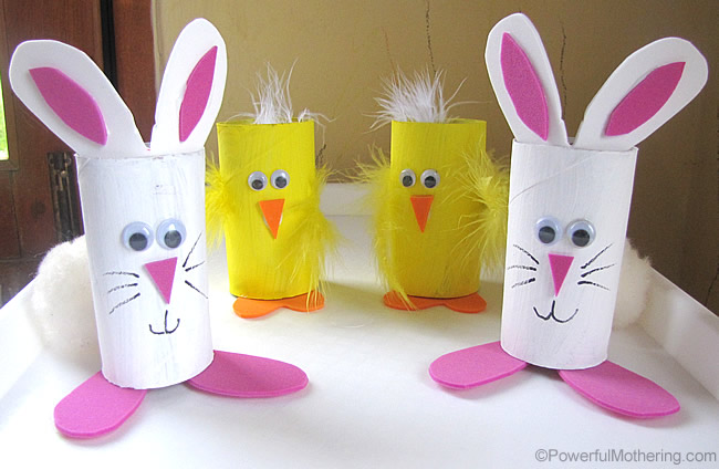 Bunny & Chick Treat Holder from TP tubes