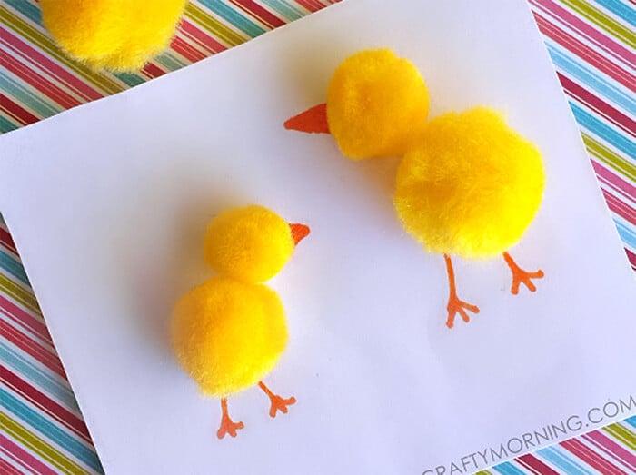Pom Pom Chick kids craft