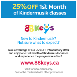 25% OFF! 1st month of Kindermusik classes!