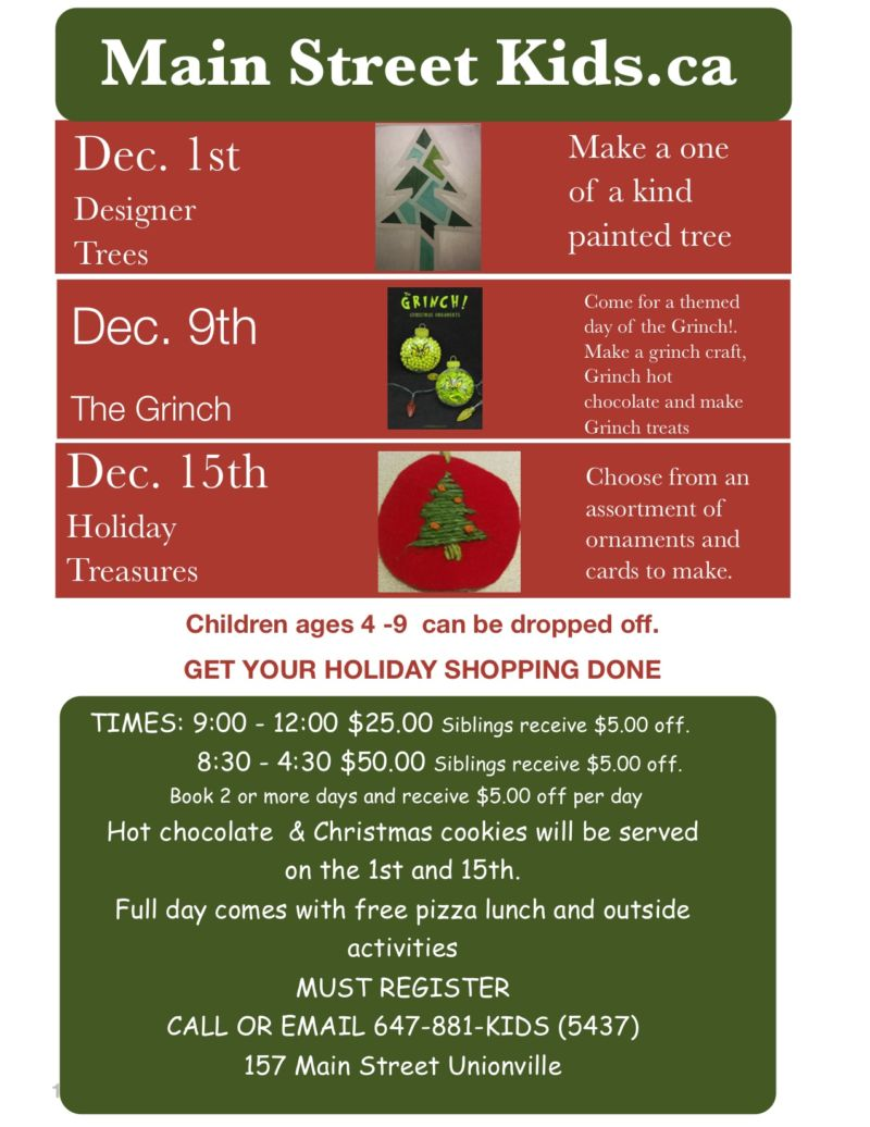 Children's Holiday Workshops