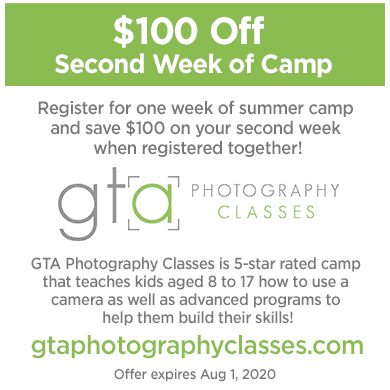 Save $100 on summer camp at GTA Photography Camps