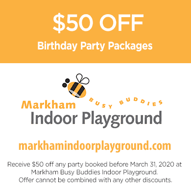 $50 off birthday parties in Markham