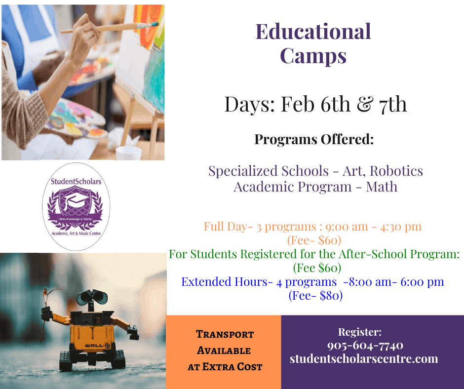Educational Full Day Camps – Feb 6th & 7th