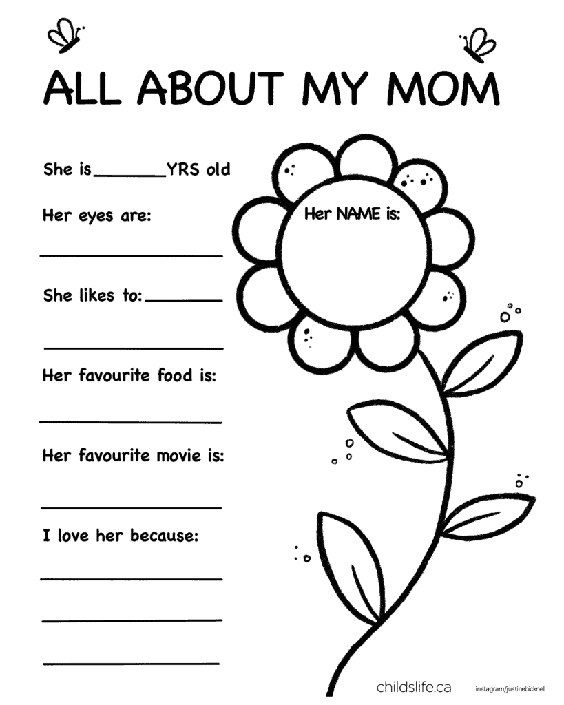 All About My Mom Printable Activity