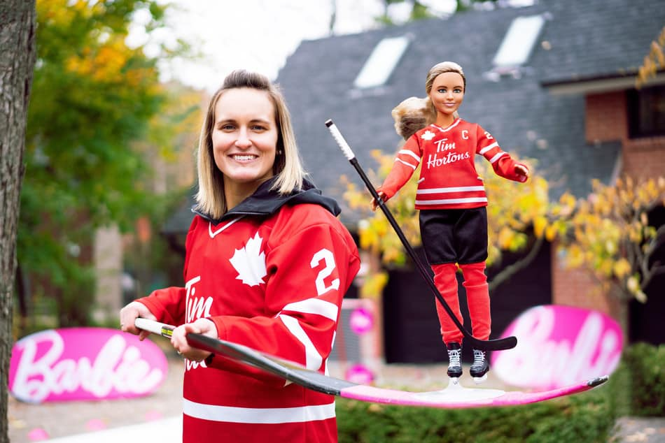 Marie-Philip Poulin with Hockey Barbie