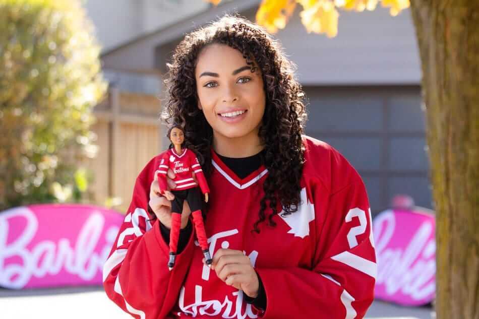 Sarah Nurse with Hockey Barbie
