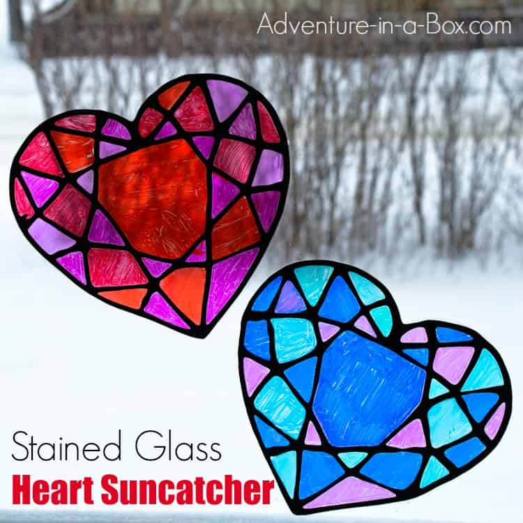 Stained Glass Heart Suncatchers from Adventure in a Box