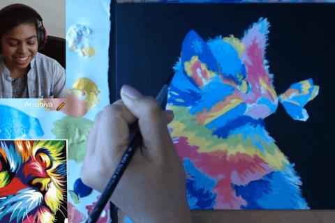 arruniya acrylic painting recording pic